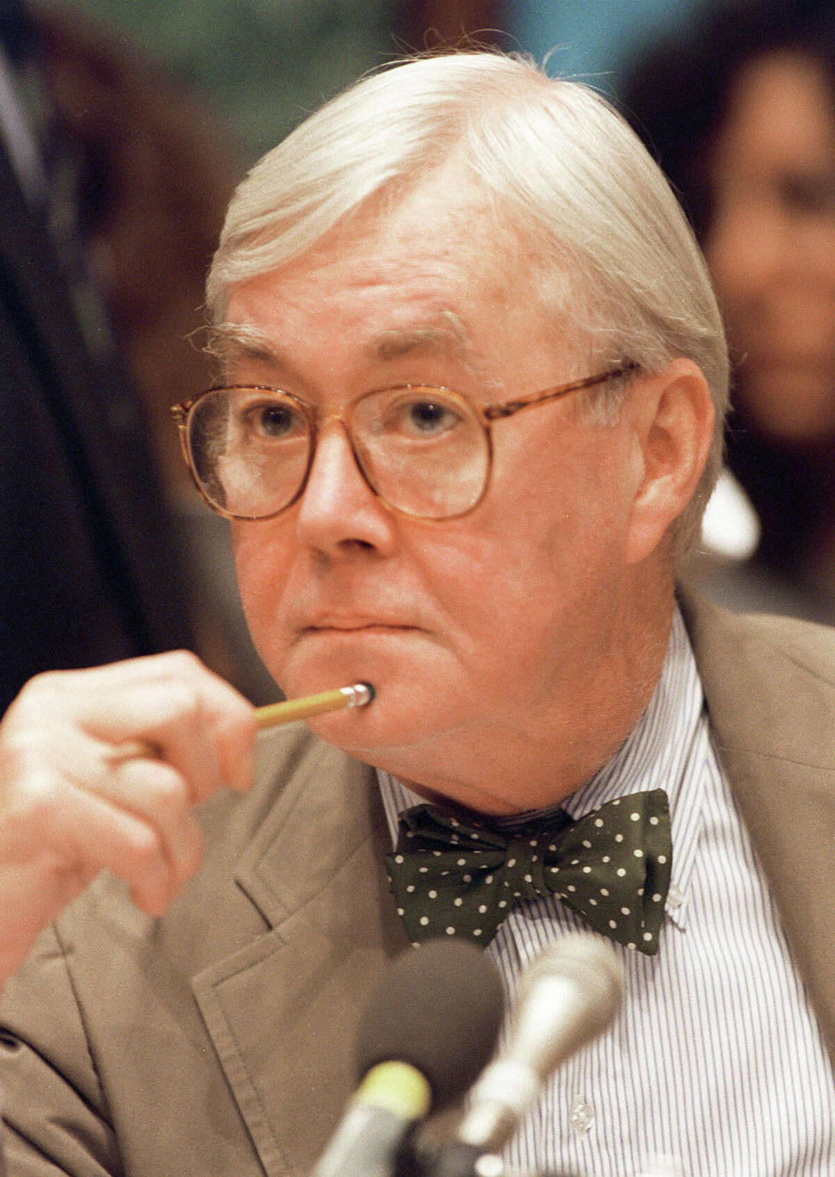 **FILE** New York Senator Daniel Patrick Moynihan is seen on Capitol Hill in this July 2, 1994 file photo. Moynihan, a New York City shoe shine boy who became an iconoclastic scholar-politician and served four terms in the Senate, died Wednesday, March 26, 2003. He was 76. (AP Photo/Mark Wilson, File)