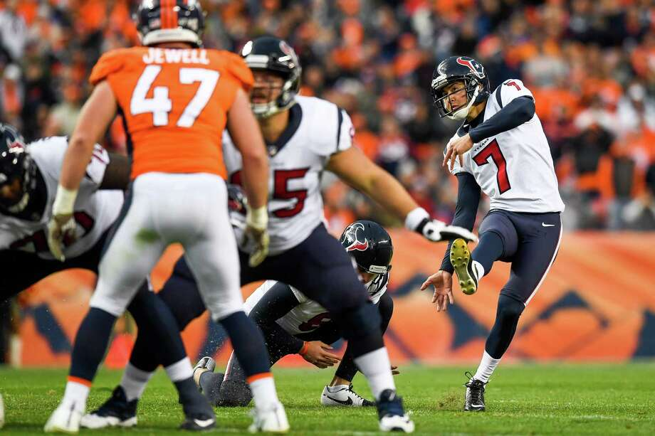 PHOTOS: Texans vs. Broncos  DENVER, CO - NOVEMBER 4:  Kicker Ka'imi Fairbairn #7 of the Houston Texans kicks a fourth quarter go-ahead field goal against the Denver Broncos at Broncos Stadium at Mile High on November 4, 2018 in Denver, Colorado.  >>>See the best photos from the Texans' win over the Broncos on Sunday ... Photo: Dustin Bradford, Getty Images / 2018 Getty Images