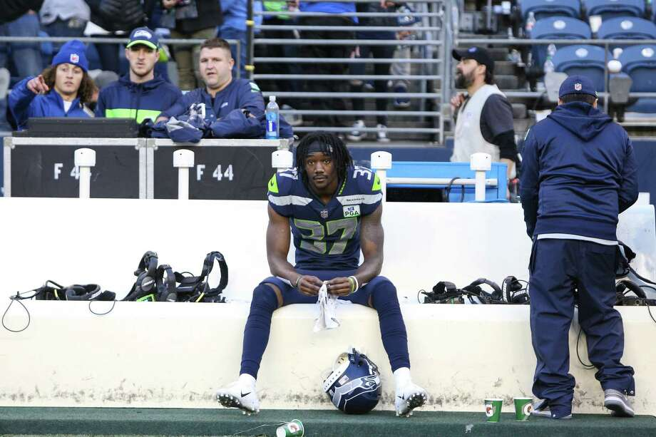 Seahawks corner back Tre Flowers sits on the bench after the Seahawks lost 25-17 to the LA Chargers, Sunday, Nov. 4, 2018 at CenturyLink Field. Photo: GENNA MARTIN, SEATTLEPI.COM / SEATTLEPI.COM