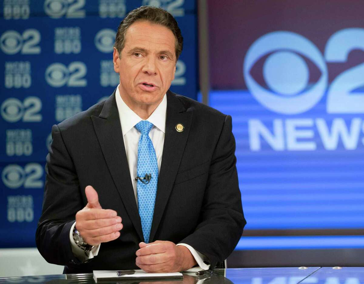 FILE - In this Oct. 23, 2018 file photo, New York Gov. Andrew Cuomo speaks during the New York gubernatorial debate in New York. Cuomo is running against Republican challenger Marc Molinaro. (AP Photo/Mary Altaffer, Pool, File)