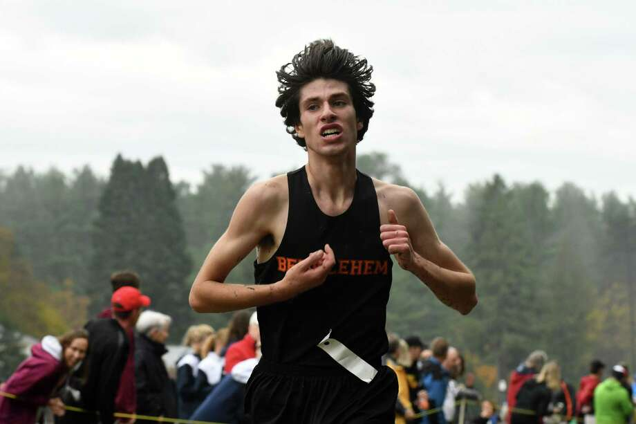 Section II Cross Country Championships Class A second place finisher, Matt Cavaliere of Bethlehem Central heads to the finish line at Saratoga Spa State Park on Friday, Nov. 2, 2018, in Saratoga Springs, N.Y. (Will Waldron/Times Union) Photo: Will Waldron / 40045357A