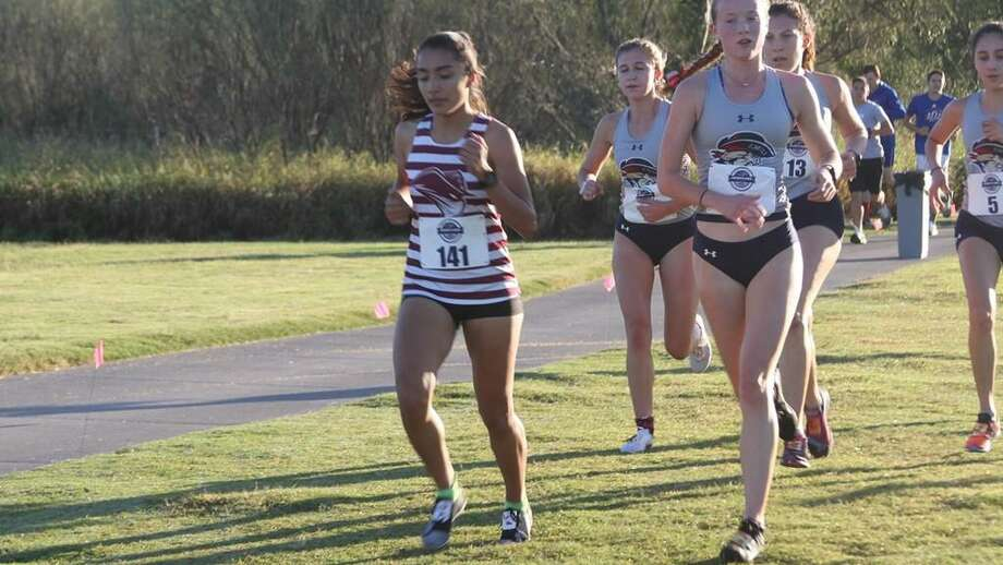 Abril Escamilla was one of three TAMIU runners in the top 10 at the Heartland Conference Cross Country Championships helping the Dustdevils place third in the team standings. Photo: Courtesy Of TAMIU Athletics