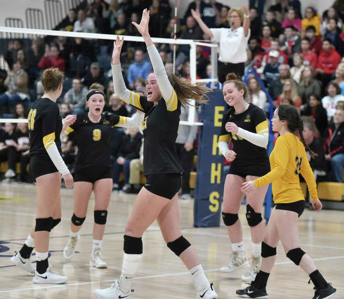 East Haven, Connecticut - Saturday, November 3, 2018: #1 Cheshire H.S. vs. #2 Amity H.S. during the first game of the SCC Girls Volleyball