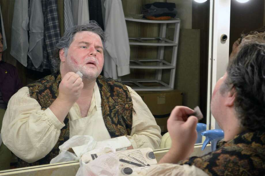 "Daniel Mann prepares his makeup for the role of Boniface in The Town Players of New Canaan performance of ""The Beaux Stratagem,"" Friday, Nov. 2, 2018, in New Canaan, Conn. Photo: Jarret Liotta / For Hearst Connecticut Media / New Canaan News Freelance"