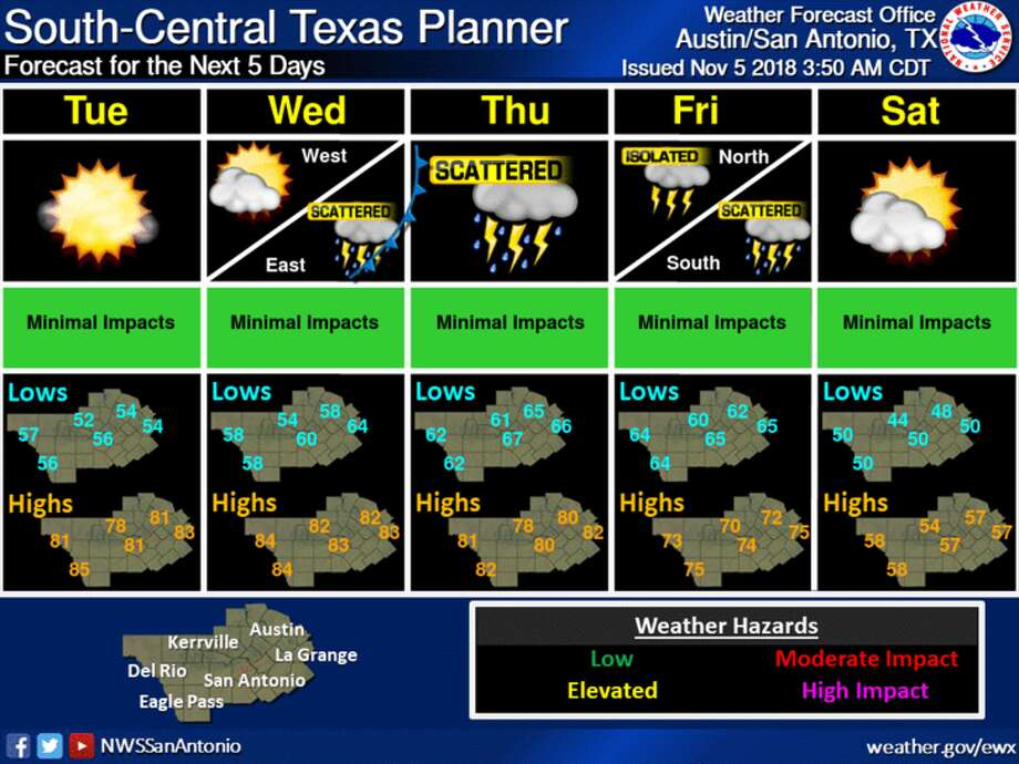The NWS forecasts lows in the mid-50s and highs in the low 80s, and the clouds affecting Bexar County today should largely clear up by tomorrow morning. Photo: National Weather Service