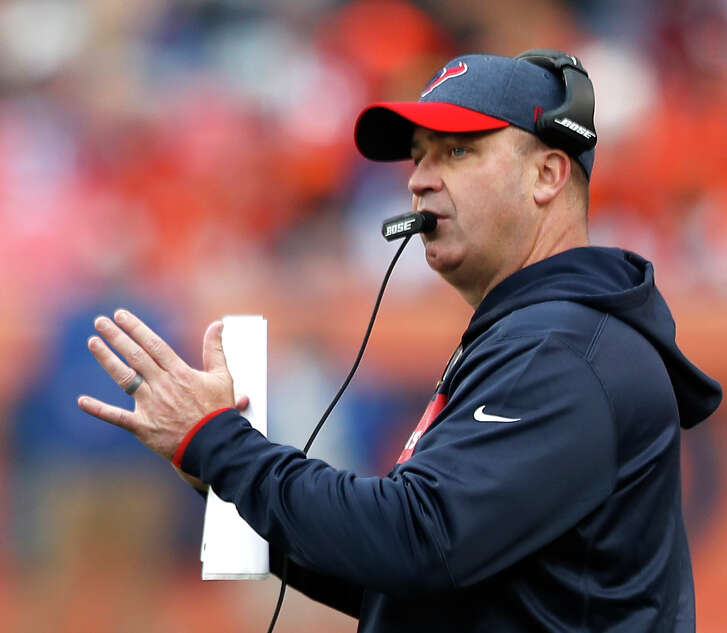 Houston Texans head coach Bill O'Brien calls a time out during the second quarter of an NFL football game against the Denver Broncos at Broncos Stadium at Mile High on Sunday, Nov. 4, 2018, in Denver.