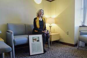 Darryl McGrath, sits in the Jim McGrath Family Consultation Room (Jim's Room), at Albany Med on Thursday, Oct. 18, 2018, in Albany, N.Y. The room is named in honor of her late husband, Jim McGrath, the longtime chief editorial writer at the Times Union. Friends and colleagues from Albany and around the country raised the money for the renovation of the room. The room was created as a quiet place for families whose loved ones are undergoing procedures in the Cardiology Catheterization Lab.   (Paul Buckowski/Times Union)