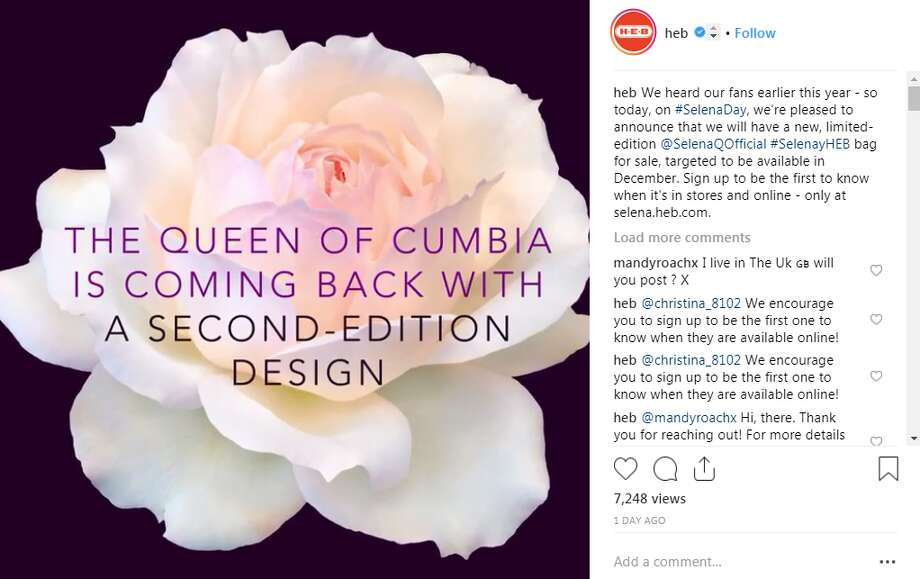 San Antonio-based grocery store chain, H-E-B, announced a new line of Selena Quintanilla-themed tote bags will be released in December. Photo: Instagram Screengrab