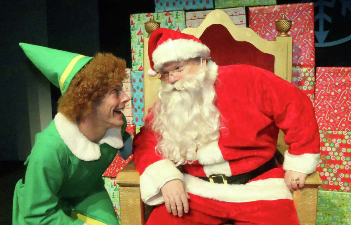 """Buddy (Joe Colavito) and Santa (Bruce Crilly), appear in """"Elf: The Musical,"""" at Curtain Call's Kweskin Theatre in Stamford, Nov. 16 through Dec. 15."""