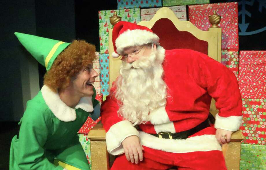 "Buddy (Joe Colavito) and Santa (Bruce Crilly), appear in ""Elf: The Musical,"" at Curtain Call's Kweskin Theatre in Stamford, Nov. 16 through Dec. 15. Photo: Lou Ursone / Contributed Photo"