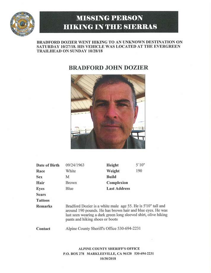 Brad Dozier of Elk Grove, Calif., was found dead at the base of a cliff in the Sierra Nevada mountain range, the Alpine County Sheriff's Office reported Sunday. Photo: Alpine County Sheriff's Office