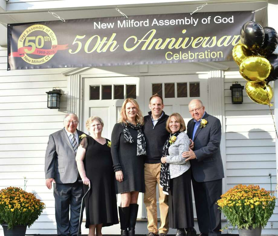 New Milford Assembly of God recently celebrated its 50th anniversary with a two-day event. Above are three of the church's past and present pastors, from left to right, past pastor the Rev. Russell Joyce, present pastor the Rev. David Siwek, and founding pastor the Rev. Stanley Siwek, founding pastor. They are joined by, from left to right, their wives, Joanne Joyce, Kelly Siwek and Rosemarie Siwek. Photo: Courtesy Of New Milford Assembly Of God / The News-Times Contributed