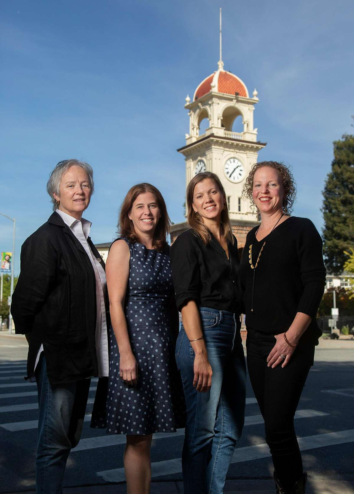 From left, Patrice Boyle of Soif, Casey Coonerty-Protti, of Bookshop Santa Cruz, Rama Zoe Heinrich and her sister, Anandi Heinrich, of Pacific Trading Co. photographed on Thursday, 11/01, 2018 in Santa Cruz, California. Santa Cruz has the fourth highest female owned businesses in the country and female entrepreneurs in downtown recently created the Alliance of Women Entrepreneurs.