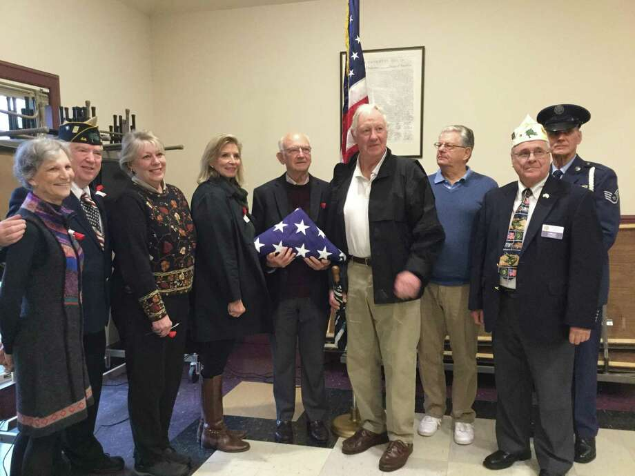 American Legion Post 44 in Bantam honored WWI U.S. Army Captain L. Cleveland Fuessenich during its monthly Veteran of the Month ceremony held Saturday, Nov. 3. Above, members of the Fuessenich family socialized with guests after the ceremony and gathered for a photo. Photo: Contributed Photo /