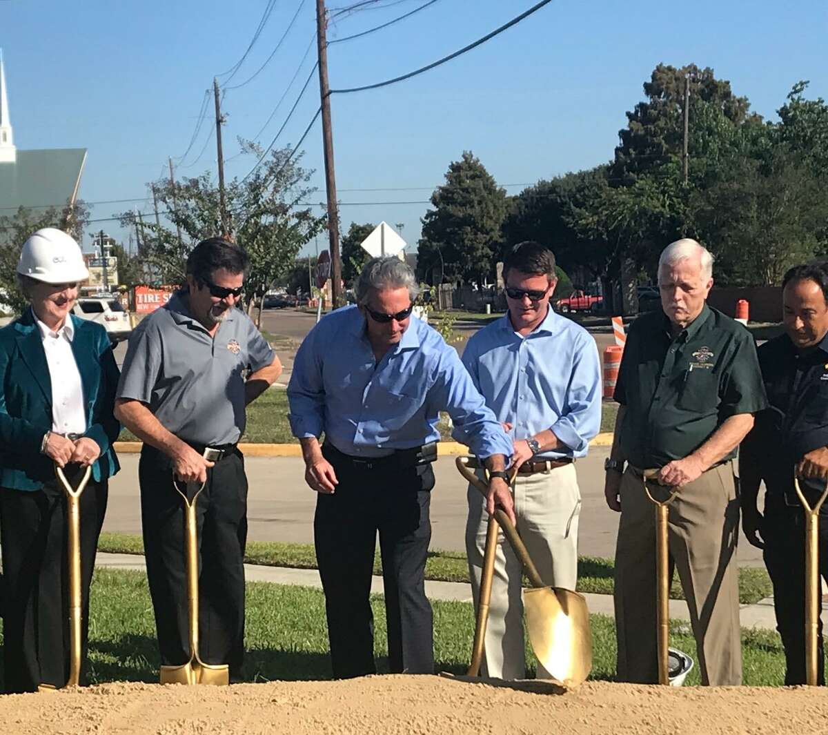 Pasadena EDC Board Member, Marilyn Wilkins; Councilman Cary Bass; Mayor Jeff Wagner; Harris County Commissioner Jack Morman; Councilmen Bruce Leamon and Felipe Villarreal commemorate work starting to Richey Street in the north part of the city at Sunset Park, Oct. 30, which will include added lanes and drainage improvements.