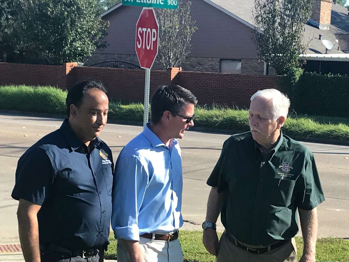 Pasadena Councilman Felipe Villarreal, Harris County Commissioner Jack Morman and Councilman Bruce Leamon commemorate beginning of work to Richey Street in the north part of the city at Sunset Park, Oct. 30, which will include added lanes and drainage improvements.