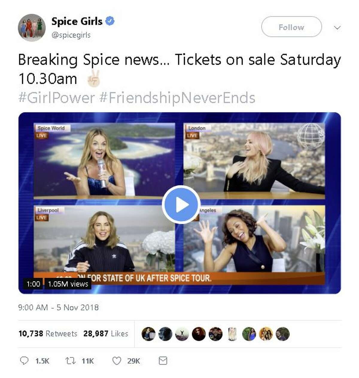 The Spice Girls posted a video announcing their United Kingdom reunion tour.