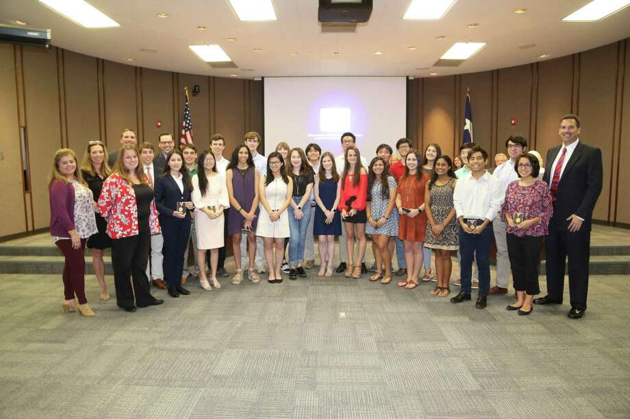 At its meeting Monday, Oct. 29, the Spring Branch Independent School District board honored 27 seniors from Memorial, Spring Woods and Stratford high schools and Westchester Academy for International Studies. The National Merit Semifinalists and National Hispanic Scholars were selected for their top PSAT scores from all the students that took the the test nationally. Photo: Courtesy Photo By Rusty Graham With SBISD