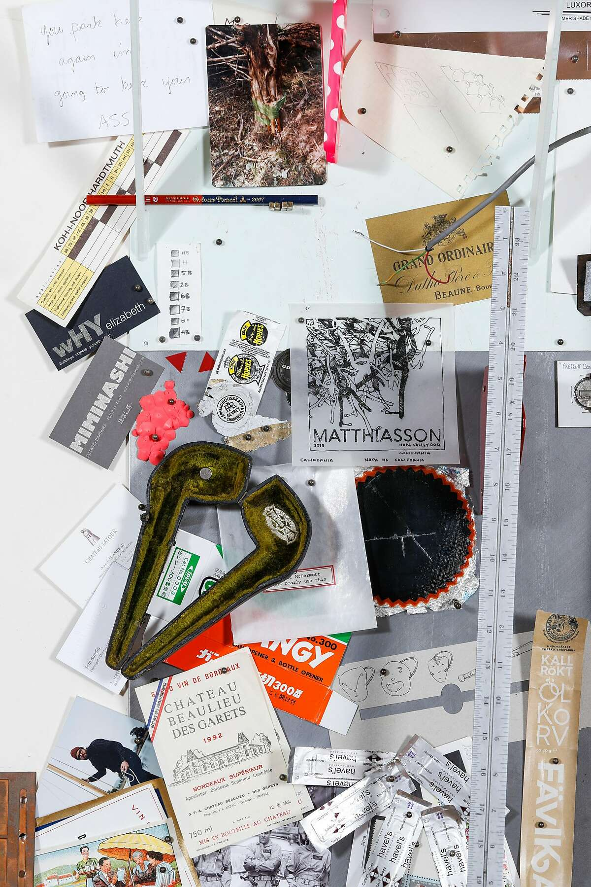 Some of the items that Michael McDermott looks to for inspiration are seen in his studio on Friday, Sept. 28, 2018 in Napa, Calif.