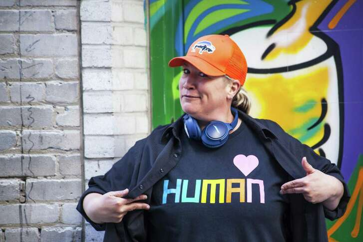"""Loosen the Bible Belt's""  Kristen Becker, founder of Dykes of Hazard Comedy."