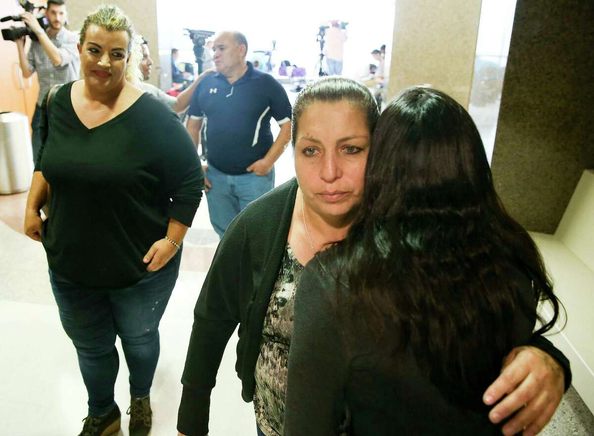 John Hernandez's mom, Maria Elena, walks away after talking to the media following the guilty verdict for Terry Thompson for the murder of her son at the Civil Courthouse in Houston on Monday, Nov. 5, 2018. Thompson was found guilty of murder of John Hernandez after choking him outside a Denny's in Crosby.
