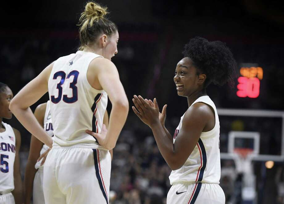 Senior Katie Lou Samuelson, left, talks with freshman Christyn Williams during the second half of UConn's victory over Vanguard Sunday. (AP Photo/Jessica Hill) Photo: Jessica Hill / Associated Press / Copyright 2018 The Associated Press. All rights reserved