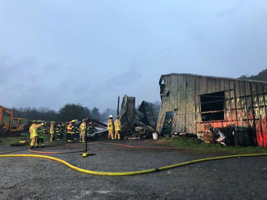 A fire inside a garage at 147 Stolzenburg Rd. in Wright, N.Y., killed an 85-year-old man, Carl Stolzenburg, on Nov. 5, 2018. (Sara Cline / Times Union) Photo: Sara Cline / Times Union