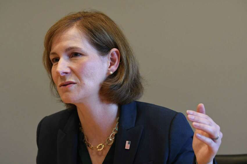 Michelle Ostrelich, who is challenging Sen. James Tedisco for the 49th Senate District in November, speaks to the Times Union editorial board on Monday, Oct. 15, 2018, in Colonie, N.Y. (Will Waldron/Times Union)