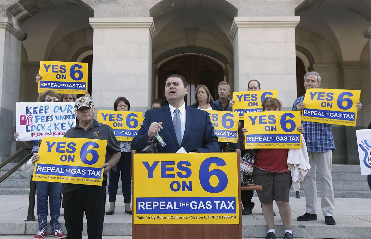 Carl DeMaio, who is leading the Proposition 6 campaign to repeal a recent gas tax said he would attempt to recall Democratic Attorney General Xavier Becerra if the proposition fails, during a news conference, Monday, Oct. 29, 2018, in Sacramento, Calif.