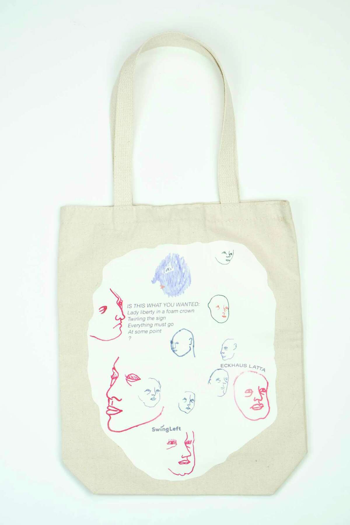 A handout photo of a canvas bag by Eckhaus Latta for Swing Left, an organization dedicated to canvassing in swing districts. This election cycle, getting out the vote is not just a talking, or lobbying, point. It's a product category. (Handout via The New York Times) -- NO SALES; FOR EDITORIAL USE ONLY WITH NYT STORY FASHION VOTING BY VANESSA FRIEDMAN FOR NOV. 1, 2018. ALL OTHER USE PROHIBITED. --