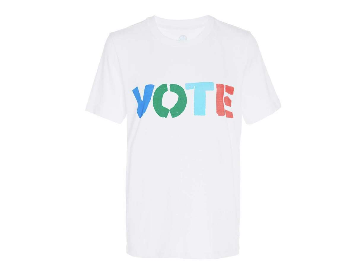 A handout photo of a Rock the Vote tee by Tory Burch, $70. This election cycle, getting out the vote is not just a talking, or lobbying, point. It's a product category. (Handout via The New York Times) -- NO SALES; FOR EDITORIAL USE ONLY WITH NYT STORY FASHION VOTING BY VANESSA FRIEDMAN FOR NOV. 1, 2018. ALL OTHER USE PROHIBITED. --