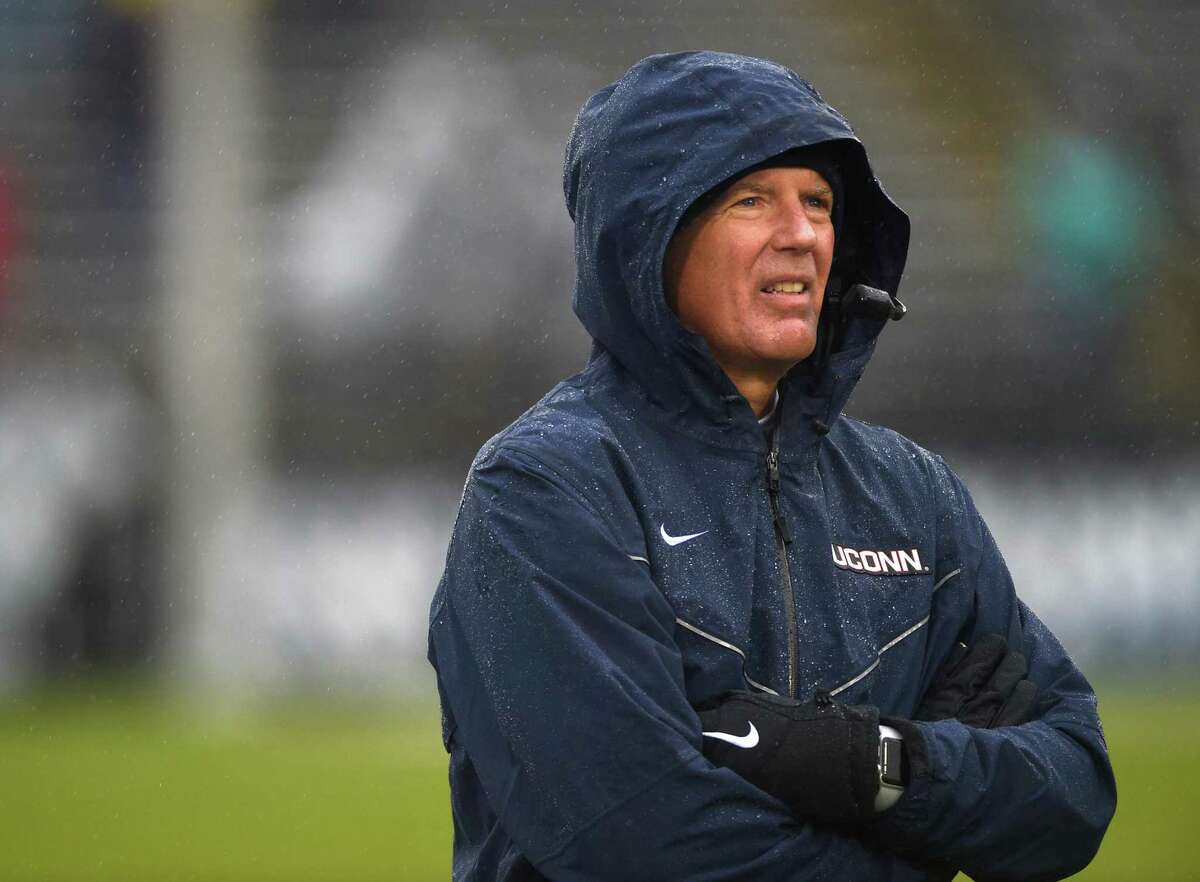 Connecticut head coach Randy Edsall looks on as his team takes on Massachusetts at Rentschler Field in East Hartford, Conn., on Saturday, Oct. 27, 2018. UMass won, 22-17. (Brad Horrigan/Hartford Courant/TNS)
