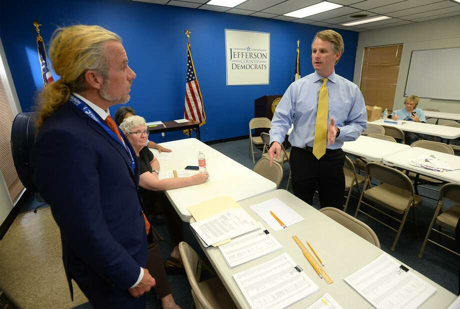 Jefferson County Judge Justin Sanderson ordered Monday for the public posting of several dozen voter's names whose mail-in ballots were rejected from the mid-term election. The posting was ordered to inform the mail-in voters that their vote has not been counted. Attorneys Cade Bernsen and Mark Sparks, pictured, filled the petition to Sanderson earlier that morning.  Photo taken Monday, 11/5/18 Photo: Guiseppe Barranco/The Enterprise, Photo Editor / Guiseppe Barranco ©