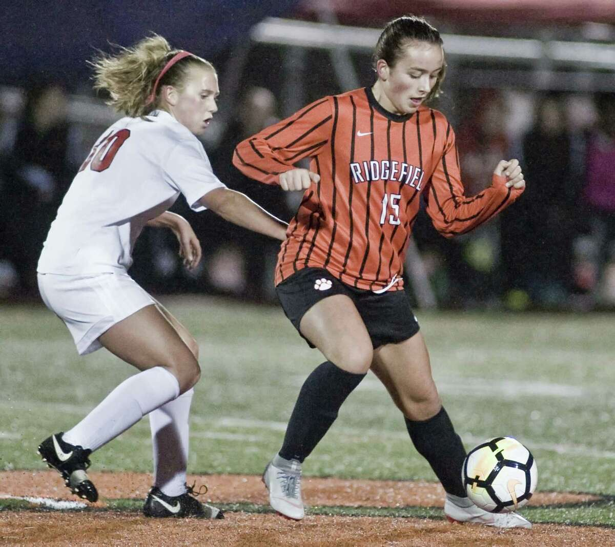 Ridgefield High School in the Class LL girls soccer game against Manchester High School, played at Ridgefield. Monday, Nov. 5, 2018