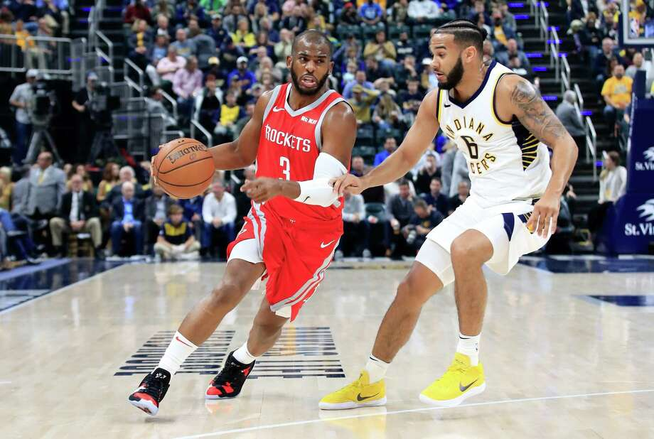 INDIANAPOLIS, IN - NOVEMBER 05:  Chris Paul #3 of the Houston Rockets dribbles the ball against the Indiana Pacers at Bankers Life Fieldhouse on November 5, 2018 in Indianapolis, Indiana.  NOTE TO USER: User expressly acknowledges and agrees that, by downloading and or using this photograph, User is consenting to the terms and conditions of the Getty Images License Agreement. Photo: Andy Lyons, Getty Images / 2018 Getty Images