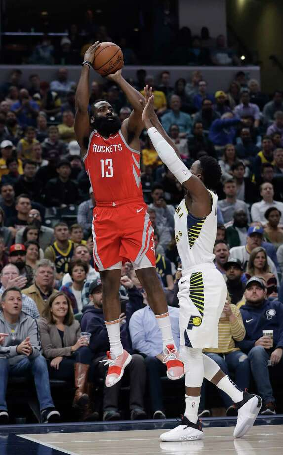 Houston Rockets' James Harden shoots over Indiana Pacers' Victor Oladipo during the first half of an NBA basketball game, Monday, Nov. 5, 2018, in Indianapolis. (AP Photo/Darron Cummings) Photo: Darron Cummings, Associated Press / Copyright 2018 The Associated Press. All rights reserved