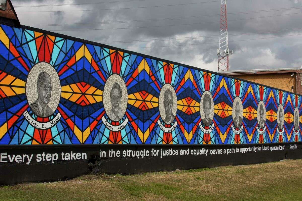 The new mural The Sacred Struggles / Vibrant Justice Mural along the Columbia Tap trail behind the Pilgrim Congregational United Church of Christ, Monday, Nov. 5, 2018 in Houston. The mural pays tribute to eight of Houston's African American civil rights leaders.