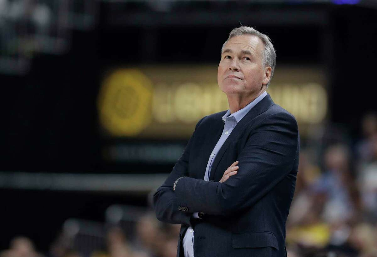 Houston Rockets head coach Mike D'Antoni looks up at the scoreboard during the first half of an NBA basketball game against the Indiana Pacers, Monday, Nov. 5, 2018, in Indianapolis. (AP Photo/Darron Cummings)