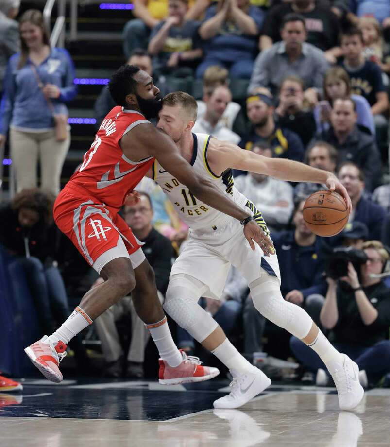 Indiana Pacers' Domantas Sabonis (11) is guarded by Houston Rockets' James Harden (13) during the first half of an NBA basketball game, Monday, Nov. 5, 2018, in Indianapolis. (AP Photo/Darron Cummings) Photo: Darron Cummings, Associated Press / Copyright 2018 The Associated Press. All rights reserved