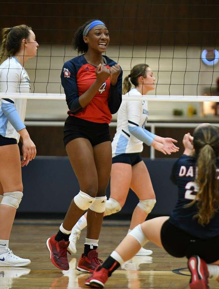 Dawson senior outside hitter Kynnedi Johnson, shown here in a playoff win over Kingwood, had 20 kills Monday night in the Lady Eagles' sweep of Clear Falls. Photo: Jerry Baker, Houston Chronicle / Contributor / Houston Chronicle