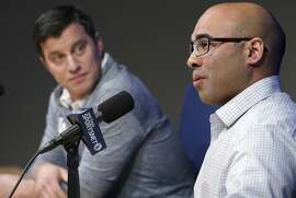 Los Angeles Dodger general manager Farhan Zaidi talks as President of Baseball Operations Andrew Friedman, left, during a press conference, on Thursday, Nov. 1, 2018, at Dodger Stadium in Los Angeles (Scott Varley/The Orange County Register via AP)