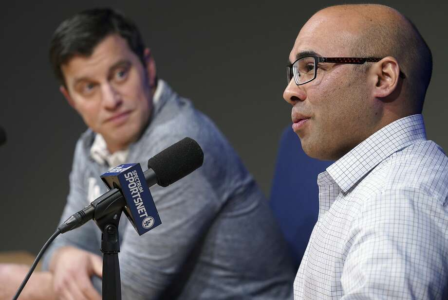 Los Angeles Dodger general manager Farhan Zaidi talks as President of Baseball Operations Andrew Friedman, left, during a press conference, on Thursday, Nov. 1, 2018, at Dodger Stadium in Los Angeles (Scott Varley/The Orange County Register via AP) Photo: Scott Varley / Associated Press