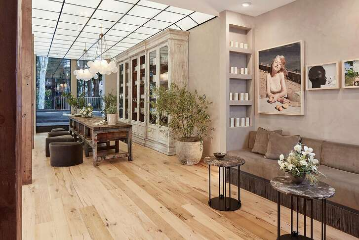 "True Botanicals' flagship in San Francisco's Jackson Square is what CEO & founder Hillary Peterson calls a ""self-care sanctuary""� an 1,800-square-foot sensorial playground complete with a bathtub-size rustic marble sink hosting an army of testers, a long reclaimed wood center console populated with products for play, an aromatherapy bar"