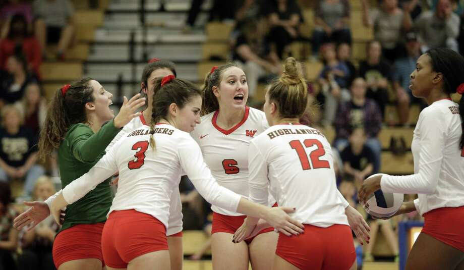 The Woodlands celebrate winning a point against Klein Collins during their 6A Region 2 playoff volleyball game at Grand Oaks High School Monday, Nov. 5, 2018 in Spring, TX. Photo: Michael Wyke, Houston Chronicle / Contributor / © 2018 Houston Chronicle