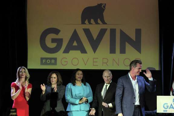 Lt. Governor Gavin Newsom campaigns at The Chapel the night before the midterm elections in San Francisco, Calif., on Monday, November 5, 2018. Newsroom was joined by his wife Jennifer Seibel Newsom, Senator Kamala Harris, and out-going California Governor Jerry Brown, with a quick appearance by San Francisco Mayor London Breed.
