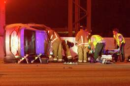 One of the drivers involved cut across a lane on Loop 410 at about 9:45 p.m. to exit near Northwest Military Drive, but as they did so, clipped another driver and lost control.
