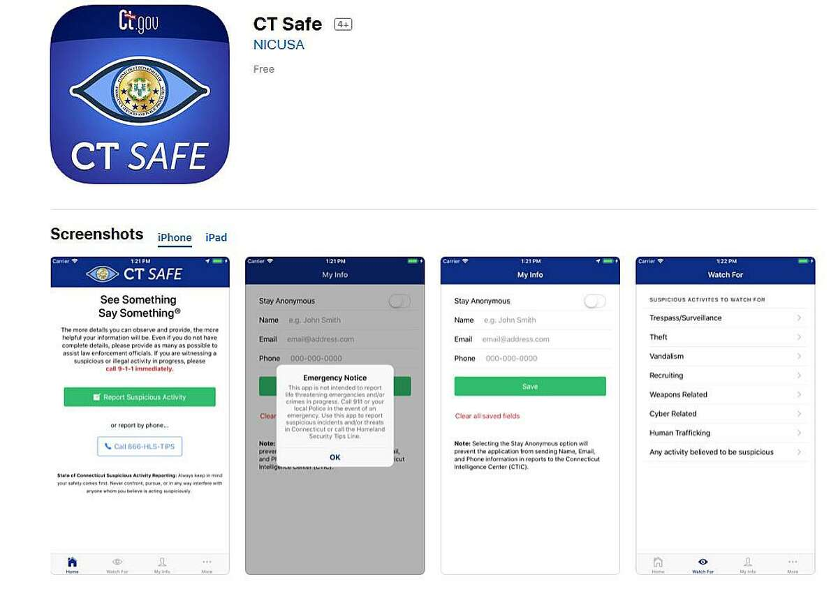 """The state Department of Emergency Services and Public Protection has announced the release of a new mobile phone application where you can report suspicious activity to authorities. The free app, it says, will engage """"our public to assist in the security of the Homeland."""""""