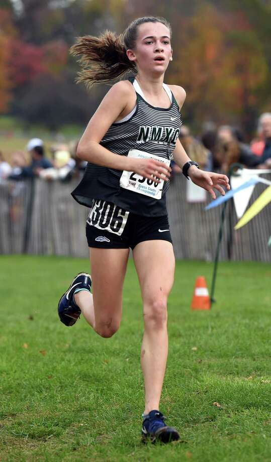 Claire Daniels, of New Milford, finishes second in the CIAC Girls Cross Country State Open Championship at Wickham Park in Manchester on Nov. 1. Photo: Arnold Gold / Hearst Connecticut Media / New Haven Register