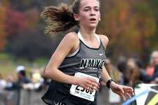 Claire Daniels, of New Milford, finishes second in the CIAC Girls Cross Country State Open Championship at Wickham Park in Manchester on Nov. 1.