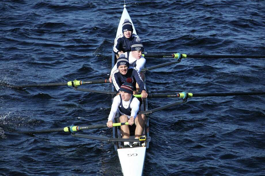 The Litchfield Hills Rowing Club, which has two members from the Greater New Milford area, recently participated in the 54th Head of the Charles Regatta on the Charles River in Cambridge, Mass. From front to back are, Anderson Warshaw of Warren, Antonio James Butler, Harley Harris, Frank Anctil of Warren and Faye DeVaux, hidden. Photo: Courtesy Of Litchfield Hills Rowing Club / The News-Times Contributed